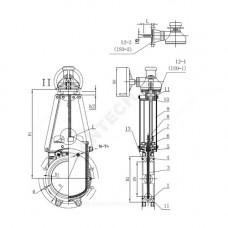 Задвижка шиберная двусторонняя чугун Ду 450 Ру7 межфл с редуктором+ISO2 F10 уплотнение: NBR