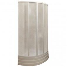 Кабина душевая 2-х сторонняя полукруглая 90х90 белая без поддона пластик стекло Пластиклайн